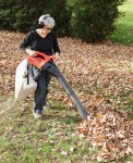 Woman Mulching Autumn Leaves